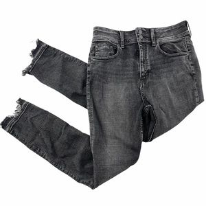 Free People ripped chewed black skinny ankle jeans